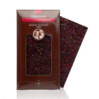 Tablette chocolat noir, framboises et cranberries 85gr