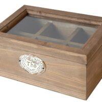 Boîte à thé vintage en bois avec couvercle vitré