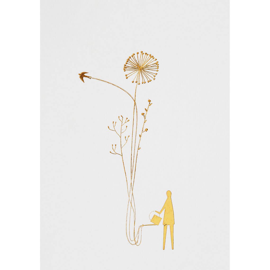 carte-simple-doree-arroser-les-fleurs-rader