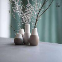 Lot de 4 mini vases gris et blanc
