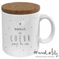 """Mug avec couvercle """"Soeur de coeur"""""""