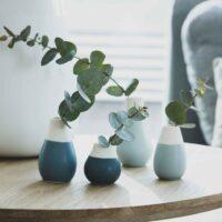 Lot de 4 mini vases bleu et blanc