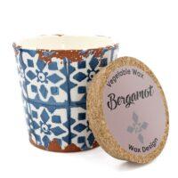 Bougie artisanale en céramique parfumée à la bergamote