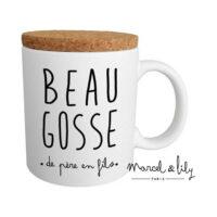 """Mug avec couvercle """"Beau Gosse"""""""