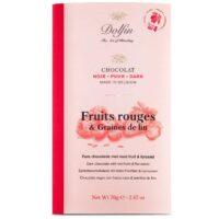 Tablette de chocolat noir aux fruits rouges et graines de lin 70gr